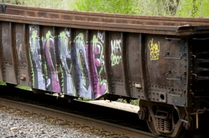 Rail car with graffiti
