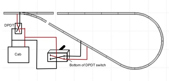 Wiring for model railroad track reversing loop