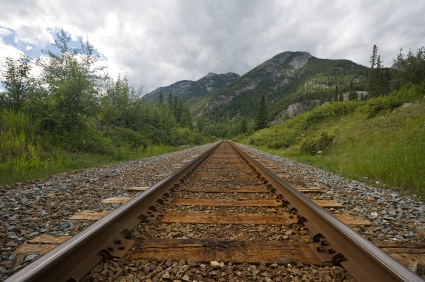 Railroad Track into the Rockies