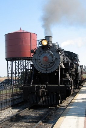 Steam locomotive on the the Pennsylvania Railroad