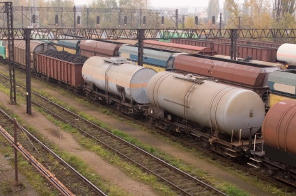 Railcars in train yard